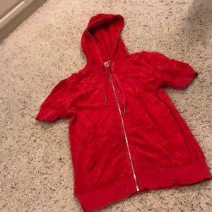 Cute red short sleeve juicy zip up.